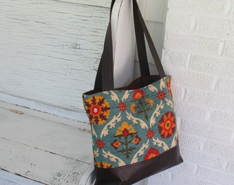 Waverly Medallion Folk Print & Leather Tote, Diaper Bag, Travel Bag, Market Bag, Shoulder Purse