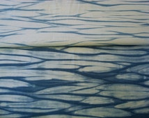 Ombre Shibori Cotton Fabric Hand Dyed Organic Quilt Fabric Blues 56 by 18