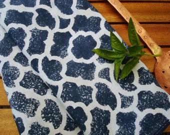 Blue Kitchen Towel, Hand Dyed Kitchen Towel, Blue White Home Decor, Blue Dish Towel