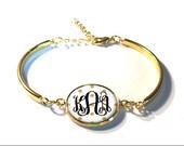 Gold Polka Dot Monogram Bracelet, Monogram Bangle, Monogram Jewelry, Bridesmaid Gift, Personalized Bracelet - Style 526