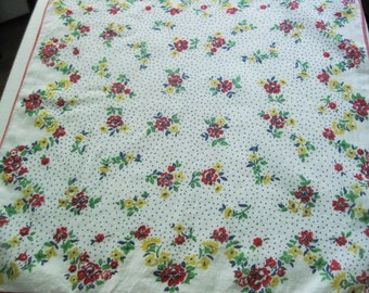 Vintage Hanky/Handkerchief With Lovely Red and Yellow Flower Design All Over
