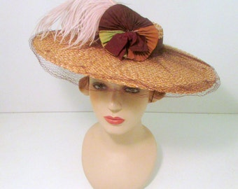 Vintage Wide Brim Straw Hat Kentucky Derby Wedding Ostrich Feather Extra Wide Brim Glamorous