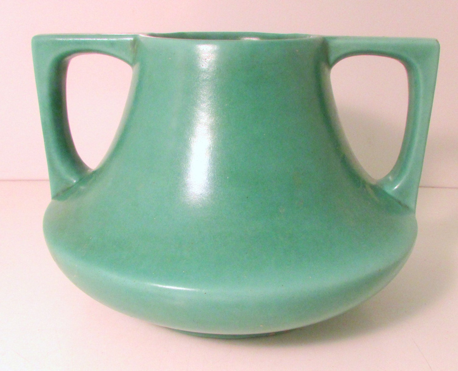 Vintage arts and crafts pottery vase haeger eve vase green for Arts and crafts pottery
