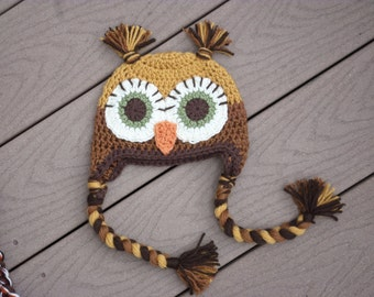 boys owl hat brown and gold