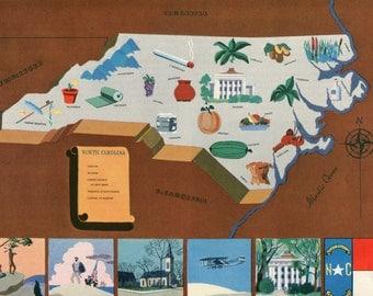 VIntage Pictorial Map of North Carolina 1939 World's Fair