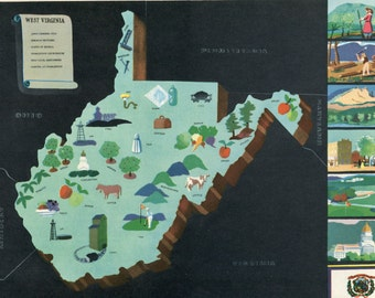 VIntage Pictorial Map of West Virginia 1939 World's Fair