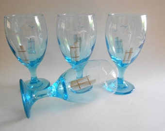 Seagulls Pier Posts Water Glasses Iced Tea Glasses Set of 4 Hand Painted Glasses Hand Painted Seagulls Seagull Drinkware Blue Water Glasses