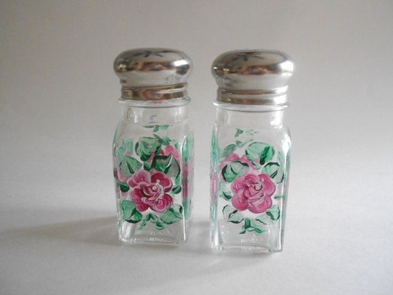 Pink Roses Salt and Pepper Shakers Jars Handpainted Square Size Roses Kitchen Clear Glass