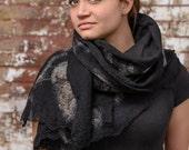ANDREA LEBEAU DESIGNS. Fusion Felted Wearable Art. Handmade Soft Breathable Black Alpaca and Tibetan Yak Scarf