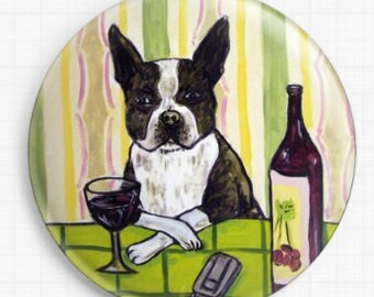 Boston Terrier at a Wine Bar, Jay Schmetz, Licensed Art, Needle Minder, Cross Stitch Keeper, Fridge Magnet