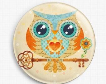 Owl Needle Minder, Licensed Art, Buho Summer Owl, Sandra Vargas, Cross Stitch Keeper,Fridge Magnet
