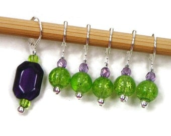 Removable Stitch Markers Crochet Row Markers Lime Green Purple Locking Knitting Supplies DIY Crafts