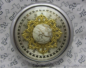 Silver and Gold Compact Mirror Comes With Protective Pouch
