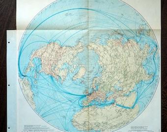 1950 Large Vintage Map of World Communications - Northern Hemisphere - Poster-sized World Map