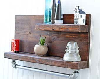 Rustic Industrial Decor, Slimline Pipe Shelf, 18 inch Width, Industrial Pipe Shelves, Pipe Shelves, Pipe Shelving, Floating Shelf, Pallet