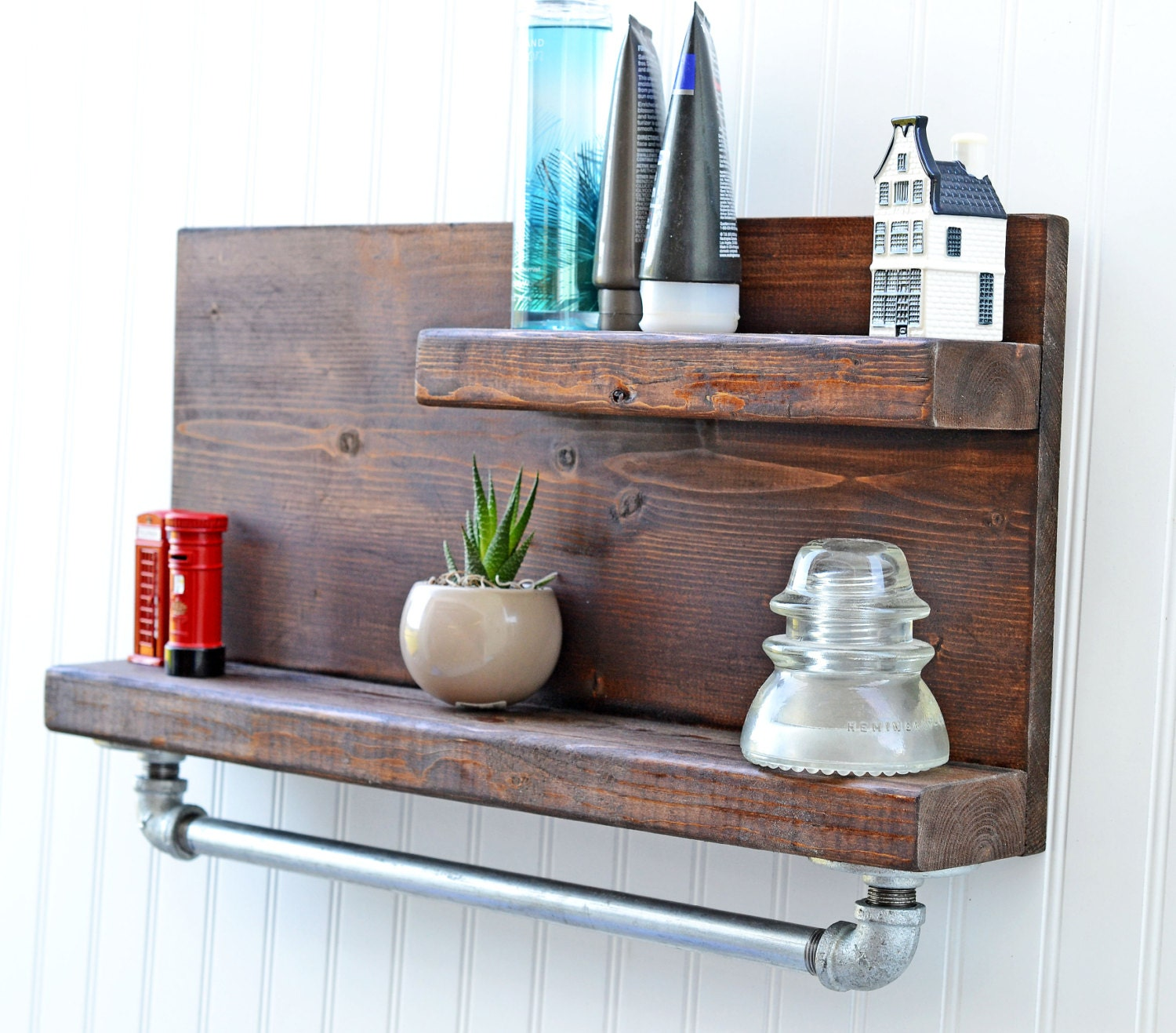 Rustic decor shelf with iron pipe towel rack bath shelf bath for Bathroom shelves design