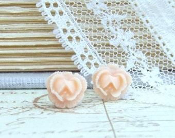 Peach Stud Earrings Rose Studs Peach Rose Earrings Peach Earrings Small Rose Earrings Surgical Steel Studs