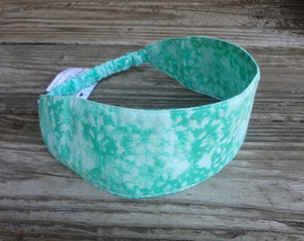 SALE Wide Headband with elastic: Mint Green Cotton