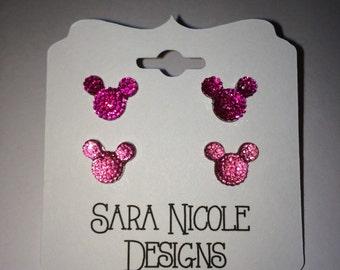 Mickey Mouse earrings set of 2 ~Disney~ Disneyland ~ girls earrings ~ Disney Jewelry ~ kids earrings ~ Minnie Mouse~Disney Inspired