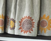Autumn Sunflowers natural linen cafe curtains hand block printed in pumpkin, mustard, and fig marsala