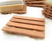 2 Spanish cedar wood soap dishes - handcrafted in Portland, Oregon USA  - aromatic Spanish Cedar