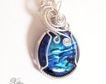 Blue Waves Paua Shell Cabochon Silver Pendant