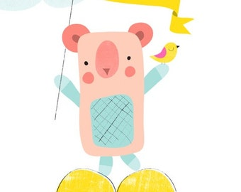 Bear love - Bear bird illustration, Nursery Art,Children Decor,nursery wall art, playroom decor,bear & bird nursery art print,Girl Nursery