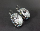 Swarovski Clear Crystal Diamond Bridal Earrings - Silver Swarovski Earrings, Oval Earrings