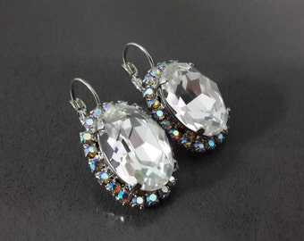 Swarovski Clear Crystal Diamond Bridal Earrings - Silver Swarovski Earrings, Oval Earrings