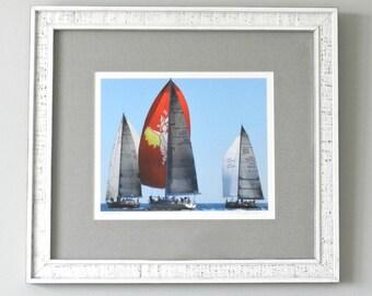 Rustic Framed Sailboat Art, Gift for Sailors, Framed Art, Framed Photography, Framed Sailboat Print, White Framed Nautical Art, Framed Print