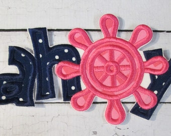 Ahoy - Iron On or Sew On Embroidered Custom Made Summer Applique