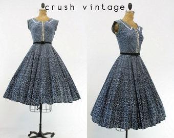40s Dress Cotton Small / 1940s Novelty Print Dress /  Seaside Summer Dress