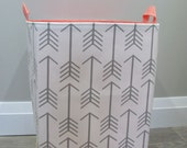 "13""x13""x19"" Laundry Hamper - Laundry Basket - Laundry Bag - XXL Basket - Toy Bin - Storage - Nursery - Home Decor- White/Grey Arrows Canvas"