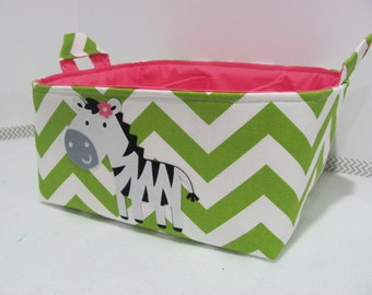 Personalized Diaper Caddy - APPLIQUED Zebra Fabric Basket Storage - Custom Design - Diaper Bag - Baby Gift- Nursery Decor - Chevron Zigzag