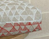 Box Cushion in 'Fractured' - Storm/Chalk