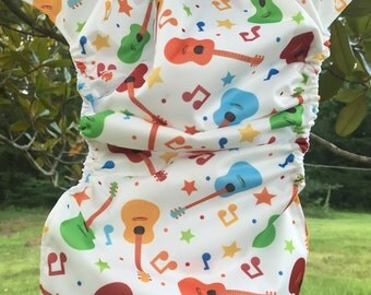 MamaBear BabyWear Waterproof Diaper Cover / Swim Diaper, Wrap One Size Fits All - Acoustic Guitar Star