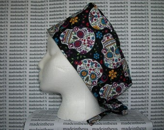 Sugar Skull Day of the Dead Calavera Surgical Scrub Hat Nurse Cap Tie Back Cotton Fabric Doctor ER Chemo Surgery Handmade in the USA