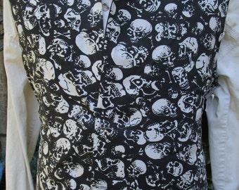 "Black & White Skull Detailed Pirate Waistcoat/ Vest Rococo Regency 37"" (V24)  FREE SHIPPING!!"