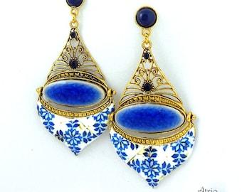 """Portugal Antique Azulejo Tile Replica Chandelier Earrings - PORTO Blue (see actual Facade photos) - Ceramic Mosaic Persian Bohemian 3"""""""