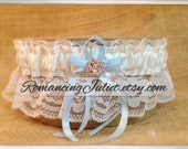 Lovely Vintage Style Ivory Lace Garter with Rhinestone Accent.. You Choose the Bow Color..shown in ivory/light blue