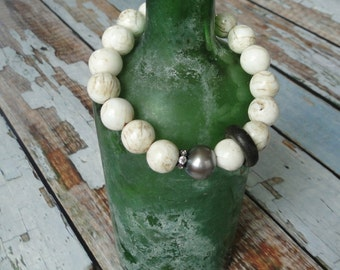 CONCH SHELLS with PEARL and brass ring bracelet, yoga