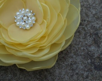 Lemon Yellow, Pale Yellow Flower Brooch or Hair Clip