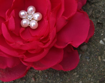 Pink Fuchsia Red Bright Pink Flower Brooch Bobby Pin Sash Hair Clip