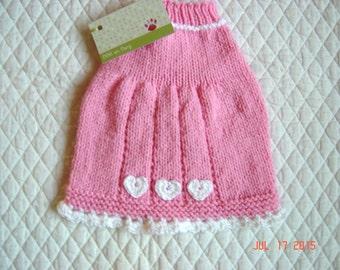 Hand Knit Dog Sweater, Handmade Pet Sweater, Size SMALL, Mini Sweater Dress Pink