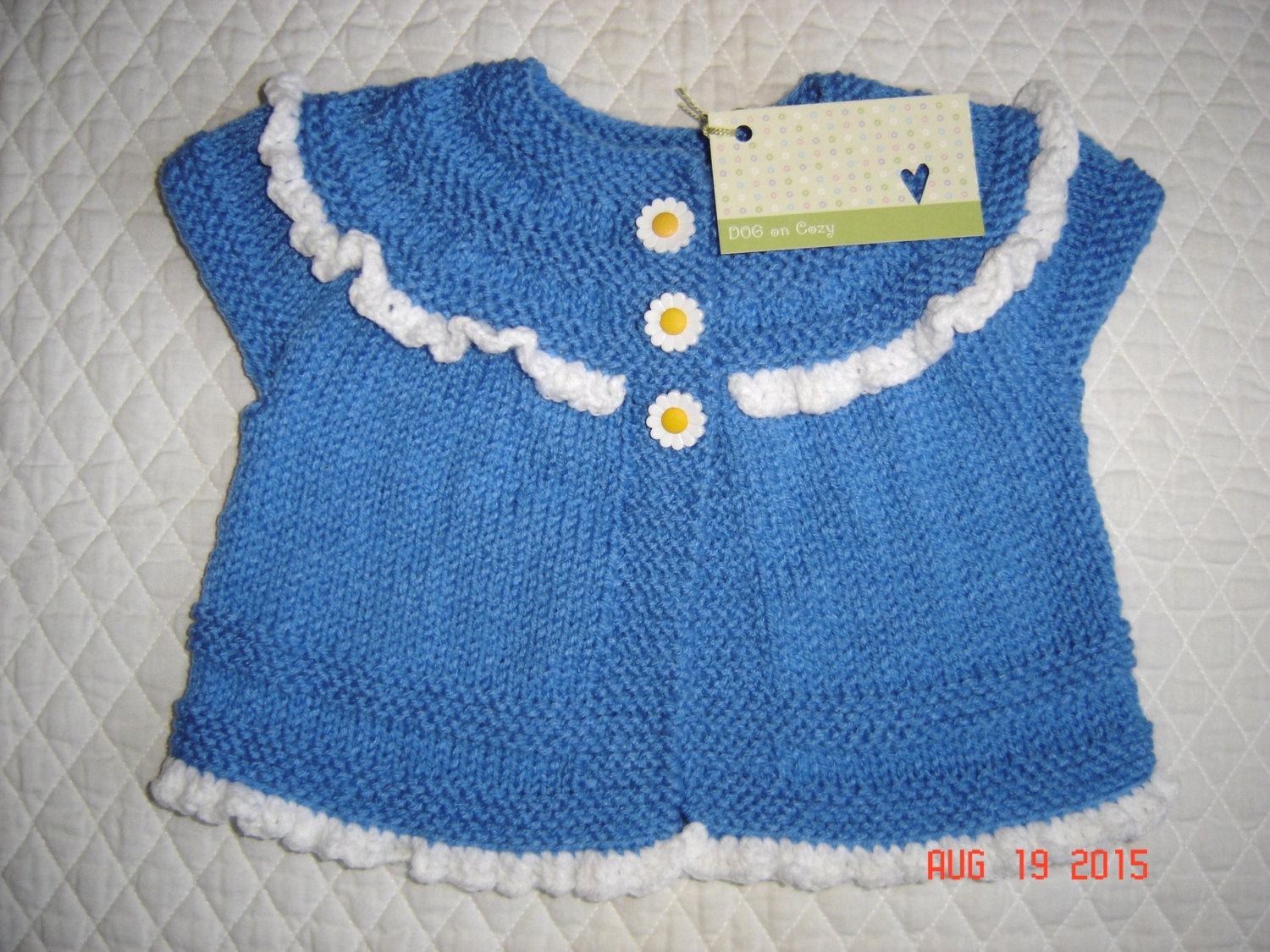 Knitting Baby Sweater Measurements : Baby girl cardigan sweater hand knit size