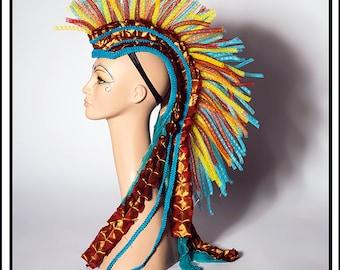 SALE 15% OFF Fiery Steed… Mohawk in Fire Colors Headdress