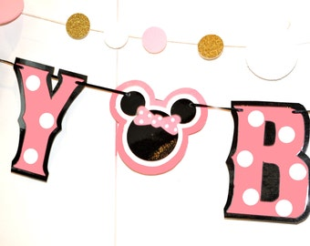 Baby Minnie Mouse Birthday Banner, Baby Minnie Birthday Party, Baby Minnie Mouse Party Banner, Baby Minnie HAPPY BIRTHDAY Banner