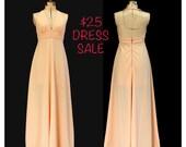 SALE! Vintage 70s California Sunset Maxi Halter Dress Handmade