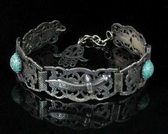 Bracelet, Sterling Silver, Vintage, Tradional, Sword, Elephant, Hand Symbol, Link Bracelet, 6.75 Inches Long