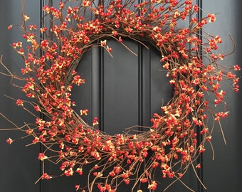 Bittersweet Wreath, Bittersweet, XL Bittersweet Wreath, Fall Wreath Decor, Door Wreaths,Fall Wreaths, Fall Bittersweet Wreaths,Autumn Wreath